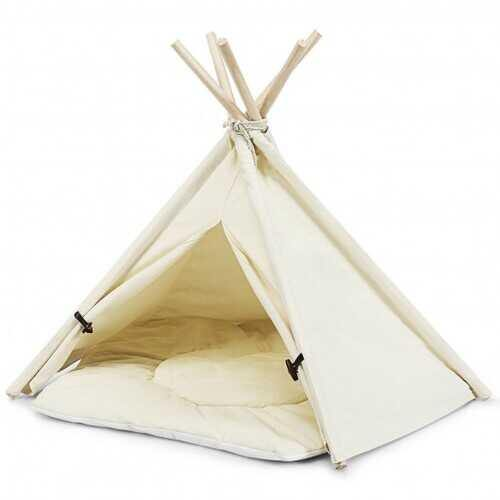 Indoor Pet Teepee Dog Puppy Cat Bed Portable Canvas Tent and House with Cushion - NorCal Cyber Sales