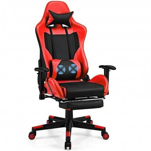 PU Leather Gaming Chair with USB Massage Lumbar Pillow and Footrest-Red - Color: Red
