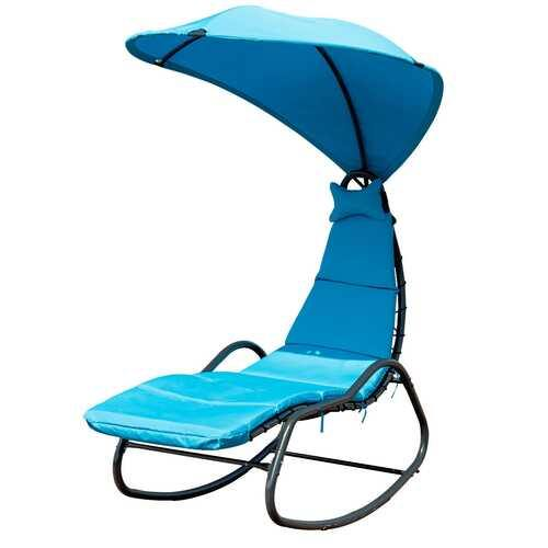 Patio Hanging Swing Chaise Lounge Chair-Blue - Color: Blue