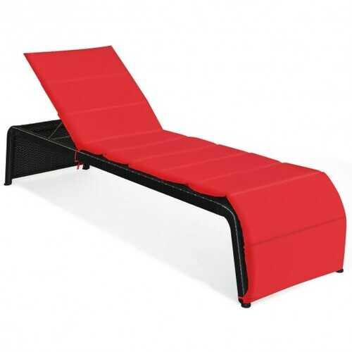 Patio Rattan Lounge Chair Back Adjustable Chaise Recliner  with Cushioned-Red - Color: Red