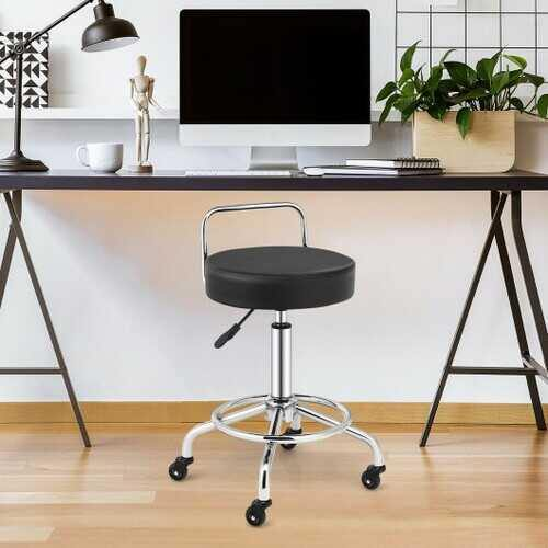 Pneumatic Work Stool Rolling Swivel Task Chair Spa Office Salon with Cushioned Seat-Black - Color: Black