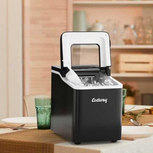 Portable Countertop Ice Maker Machine with Scoop-Black - Color: Black