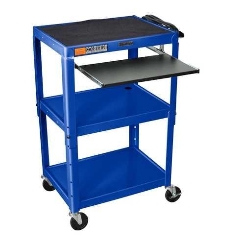 Mobile Stand Up Computer Cart Workstation Desk in Royal Blue - NorCal Cyber Sales