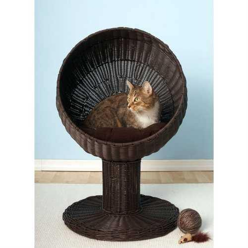 Fancy Cat Espresso Wicker Modern Cat Bed Lounge - NorCal Cyber Sales