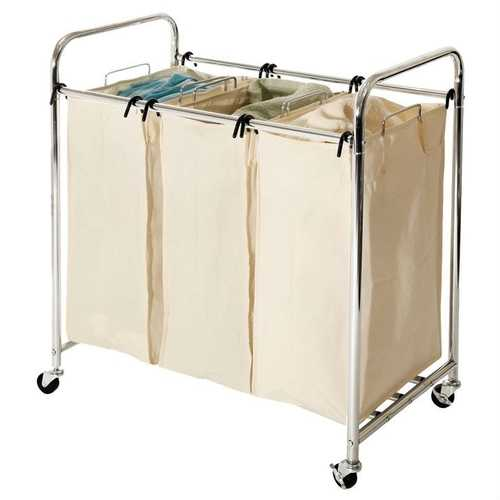 Commercial-Grade Steel Frame 3-Bag Laundry Hamper Cart - NorCal Cyber Sales