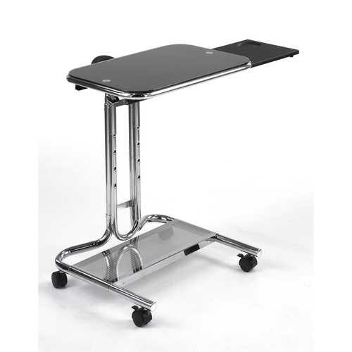 Mobile Laptop Computer Desk Cart with Black Glass Top - NorCal Cyber Sales