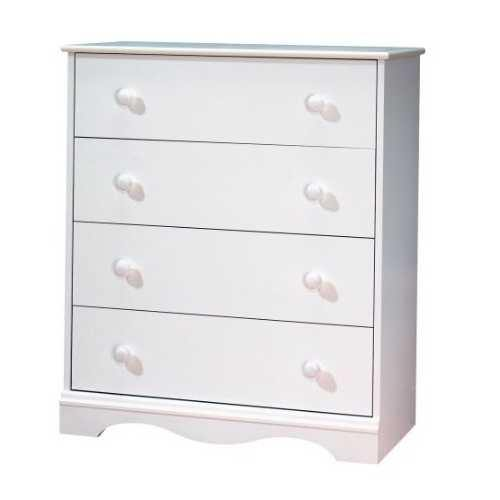 White 4 Drawer Bedroom Chest with Wooden Knobs - NorCal Cyber Sales