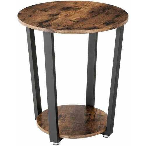 Farmhouse Rustic Round Side Table Nightstand End Table - NorCal Cyber Sales