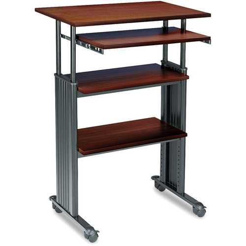 Adjustable Height Stand Up Computer Desk Workstation in Cherry - NorCal Cyber Sales