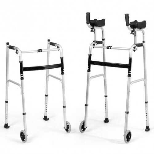 Folding Height Adjustable Walking Frame with Armrest Support - Color: Silver - NorCal Cyber Sales