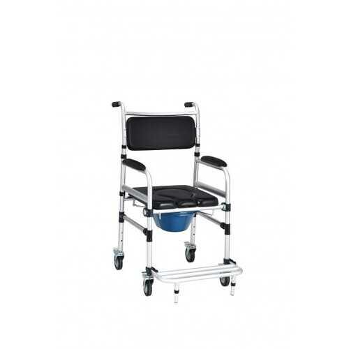 2-in-1 Aluminum Commode Shower Wheelchair with Locking Casters - NorCal Cyber Sales