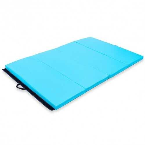 "4' x 6' x 2"" PU Thick Folding Panel Exercise Gymnastics Mat-Blue - Color: Blue - NorCal Cyber Sales"