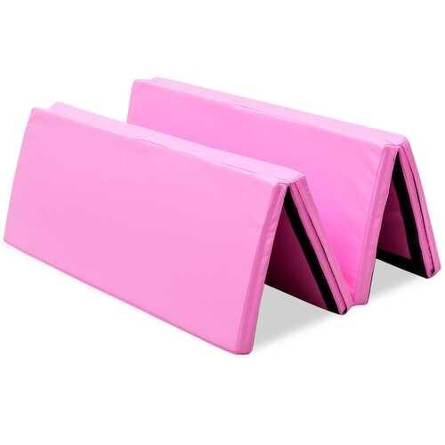 "4' x 6' x 2"" PU Thick Folding Panel Exercise Gymnastics Mat-Pink - Color: Pink - NorCal Cyber Sales"