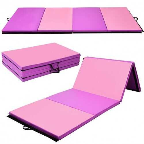 "4' x 10' x 2"" Thick Folding Panel Gymnastics Mat-Pink & Purple - Color: Pink & Purple - NorCal Cyber Sales"