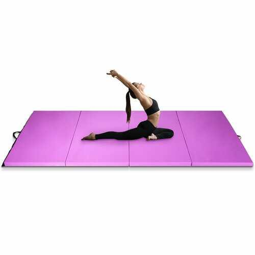 "4' x 10' x 2"" Folding Gymnastics Tumbling Gym Mat-Pink - Color: Pink - NorCal Cyber Sales"