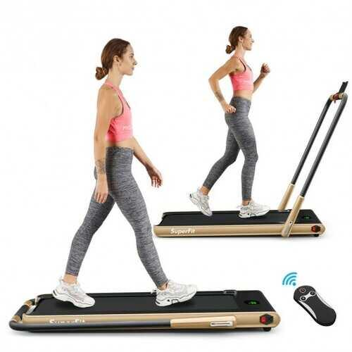 2-in-1 Folding Treadmill with RC Bluetooth Speaker LED Display-Golden - Color: Golden - NorCal Cyber Sales