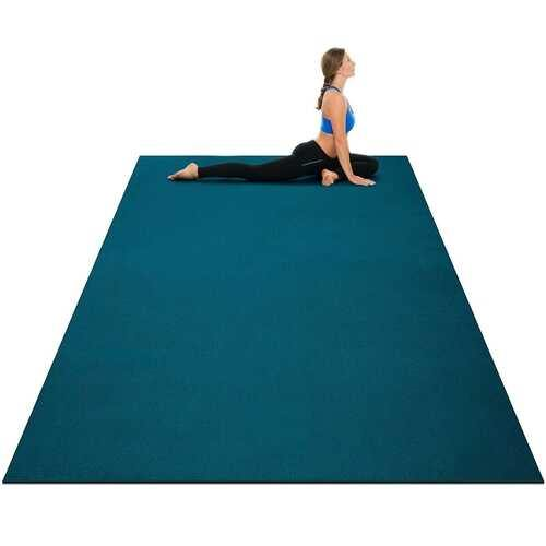 Large Yoga Mat 6' x 4' x 8 mm Thick Workout Mats-Blue - Color: Blue - NorCal Cyber Sales