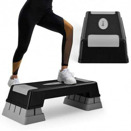 "Aerobic Exercise Stepper Trainer with Adjustable Height 5""- 7""- 9""-Gray - Color: Gray - NorCal Cyber Sales"