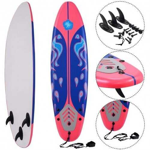 6' Surf Foamie Boards Surfing Beach Surfboard-Red - Color: Red - NorCal Cyber Sales