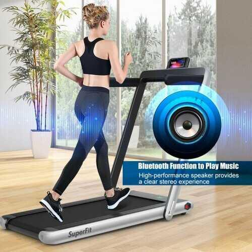 2 in 1 Folding Treadmill with Bluetooth Speaker Remote Control-Silver - Color: Silver - NorCal Cyber Sales