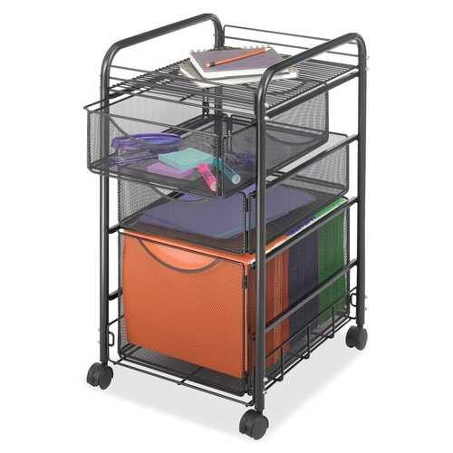Black Metal Steel Mesh Mobile Filing Cabinet Cart with 2 Drawers and Wheels - NorCal Cyber Sales