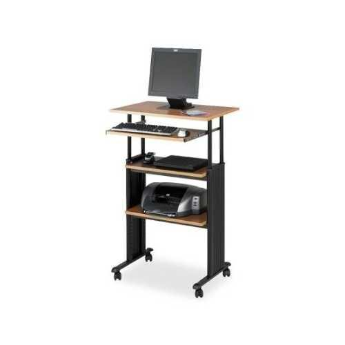 Adjustable Height Stand Up Office Desk in Medium Oak - NorCal Cyber Sales