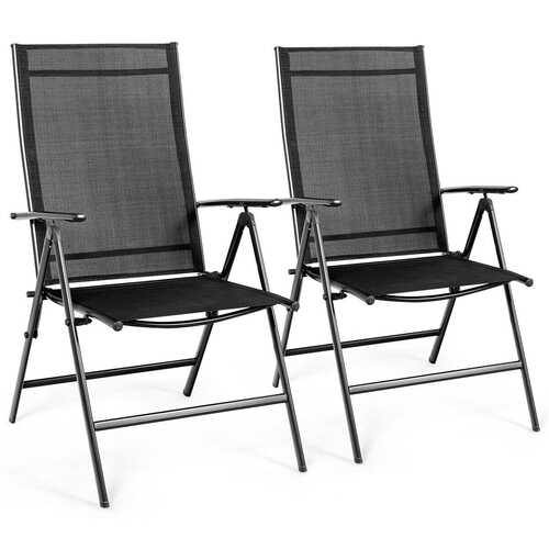 Set of 2 Adjustable Portable Patio Folding Dining Chair Recliner -Black - Color: Black