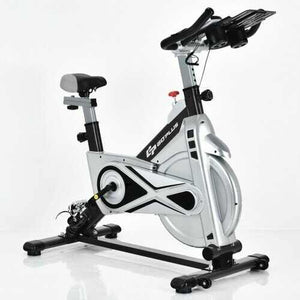 Stationary Silent Belt Adjustable Exercise Bike with Phone Holder and Electronic Display-Black - Color: Black