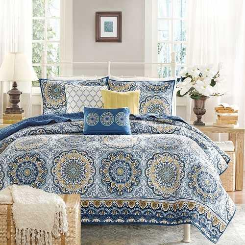 Queen size 6-Piece Coverlet Quilt Set in Blue Floral Pattern - NorCal Cyber Sales