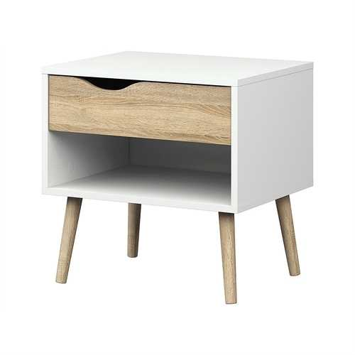 Modern Mid Century Style End Table Nightstand in White & Oak Finish - NorCal Cyber Sales