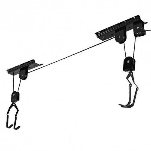 New Bike Bicycle Lift Ceiling Mounted Hoist Storage Garage Hanger Pulley Rack - Color: Black - NorCal Cyber Sales