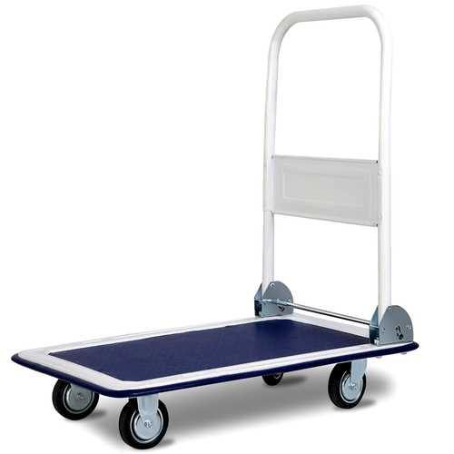 330 lbs Platform Cart Dolly Foldable Warehouse Push Hand Truck - Color: Light Blue - NorCal Cyber Sales