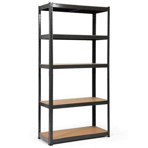 "72"" Storage Shelf Steel Metal 5 Levels Adjustable Shelves-Black - Color: Black - NorCal Cyber Sales"