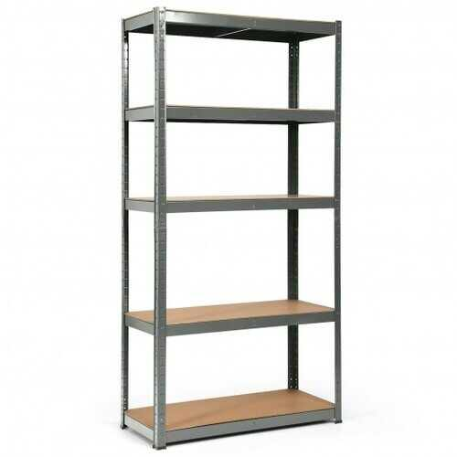 "72"" Storage Shelf Steel Metal 5 Levels Adjustable Shelves-Gray - Color: Gray - NorCal Cyber Sales"
