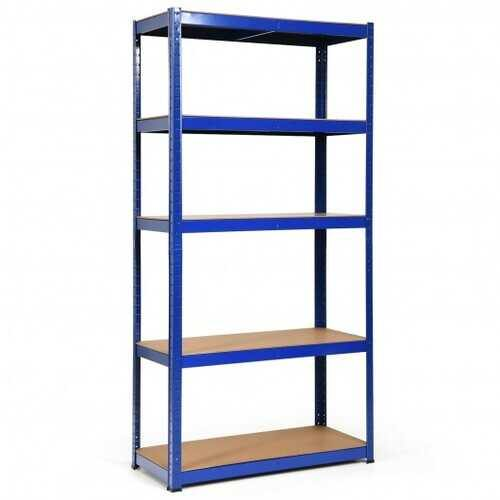 "72"" Storage Shelf Steel Metal 5 Levels Adjustable Shelves-Navy - Color: Navy - NorCal Cyber Sales"