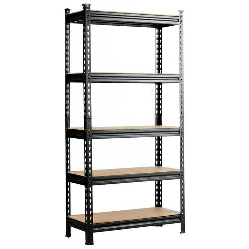 5-Tier Steel Shelving Unit Storage Shelves Heavy Duty Storage Rack - Color: Black - NorCal Cyber Sales