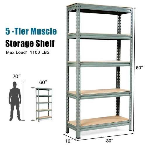 5-Tier Steel Shelving Unit Storage Shelves Heavy Duty Storage Rack-Gray - Color: Gray - NorCal Cyber Sales