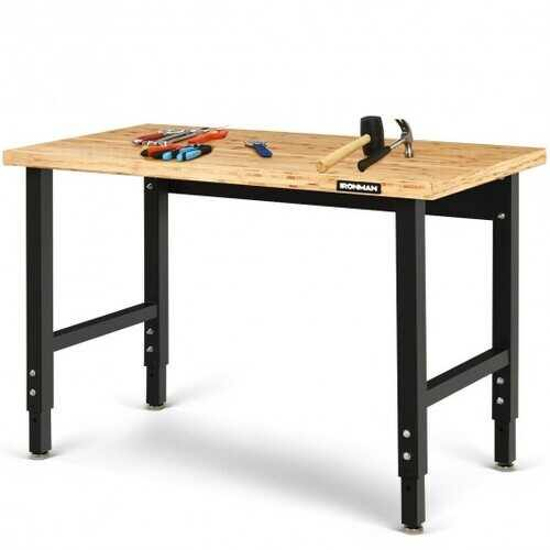 "48"" Adjustable Height Bamboo Steel Frame Workbench - Size: 48"" x 24"" x (28.5""-42"") - NorCal Cyber Sales"