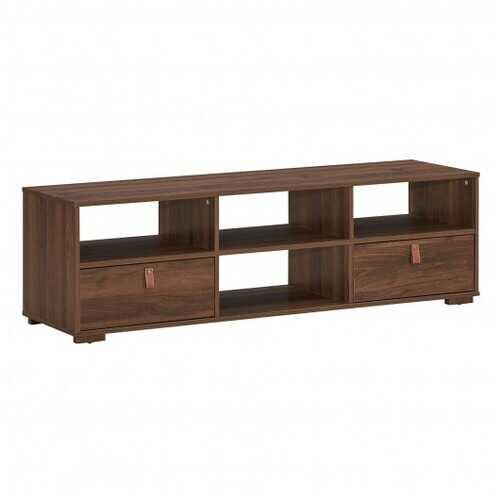"TV Stand Entertainment Media Center Console for TV's up to 60"" with Drawers Walnut-Walnut - Color: Walnut"