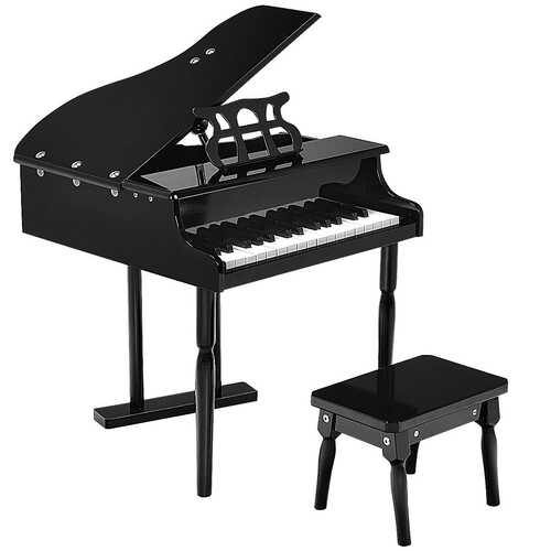 Musical Instrument Toy 30-Key Children Mini Grand Piano with Bench-Black - Color: Black - NorCal Cyber Sales