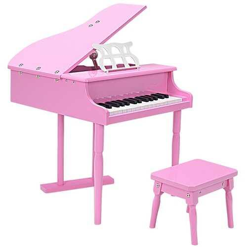 Musical Instrument Toy 30-Key Children Mini Grand Piano with Bench-Pink - Color: Pink - NorCal Cyber Sales