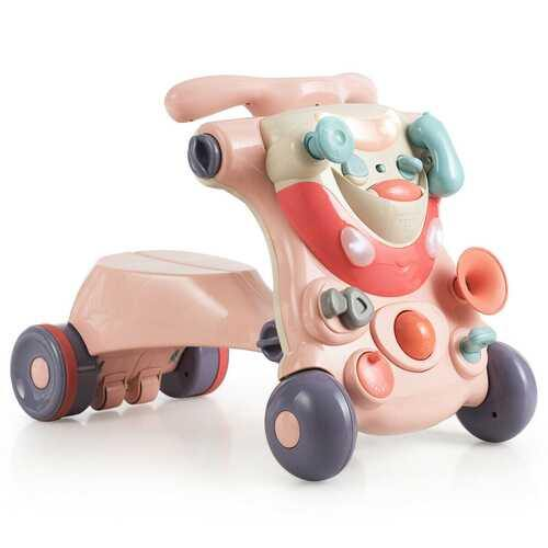 2-in-1 Baby Walker with Activity Center-Pink - Color: Pink - NorCal Cyber Sales