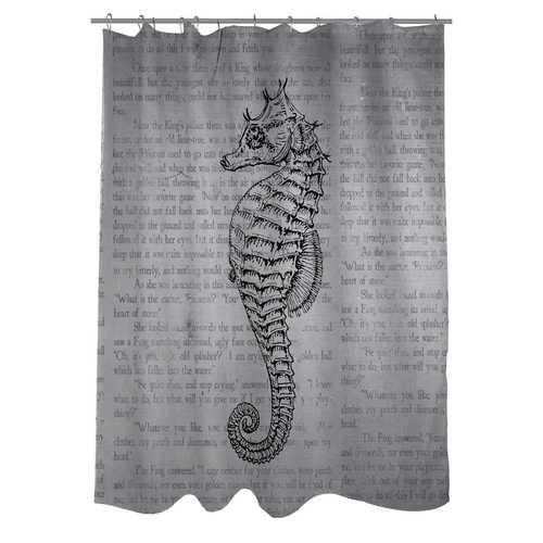 Woven Polyester Bathroom Shower Curtain with Gray Seahorse - NorCal Cyber Sales