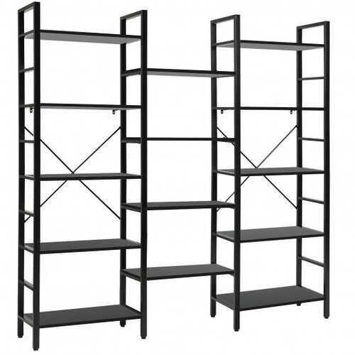 Vintage Triple Wide 5-Tier Bookcase Large Bookshelf Display Storage Shelf-Black - Color: Black