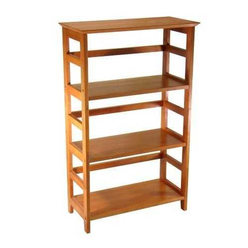 4-Tier Book-shelf Wood Bookcase in Honey Finish - NorCal Cyber Sales