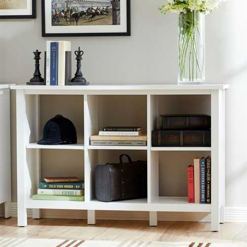 Adjustable Shelf 6-Cube Bookcase Storage Unit Sideboard in White - NorCal Cyber Sales