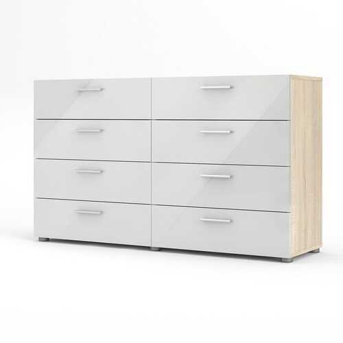 White Modern Bedroom 8-Drawer Double Dresser with Oak Finish Sides and Top - NorCal Cyber Sales