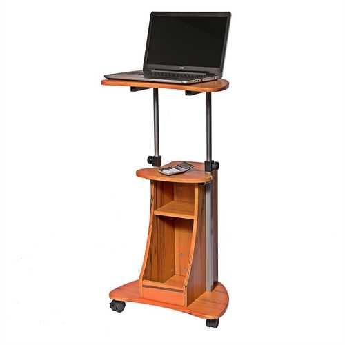 Mobile Sit Down Stand Up Desk Adjustable Height Laptop Cart in Wood-grain Finish - NorCal Cyber Sales