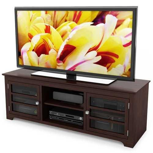 Dark Espresso TV Stand with Glass Doors - Fits up to 68-inch TV - NorCal Cyber Sales