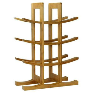 12-Bottle Wine Rack Modern Asian Style in Natural Bamboo - NorCal Cyber Sales
